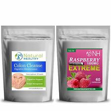 60 Cetonas De Frambuesa & Colon Cleanse Detox Dieta Píldoras 60 pérdida de peso combinación