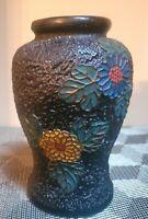 "Unique Vintage Japanese Black Porcelain Vase With Flowers & Butterfly,  6"""