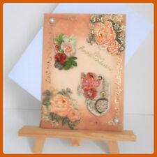 carte anniversaire orange, fleurs et montre gousset