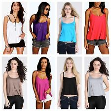 WOMENS LADIES SLEEVELESS STRAPPY SWING CAMI FLARED PLAIN VEST TOP PLUS SIZE 8-22