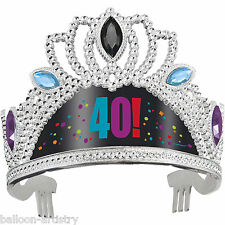 3 Adult Cheery Balloons Black 40! 40th Birthday Fancy Dress Tiara Party Hats