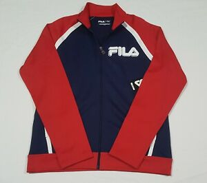 Fila Mens Sports Track Color Block Jacket Poly/Cotton Navy-REd Full Zip