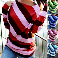 Womens Long Sleeve Striped Blouse T-Shirt Loose Pullover Jumper Tops Plus Size