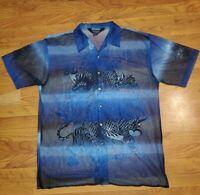 Vtg Trust Couture Men's Mesh Short Sleeve DRAGON TIGER BLUE BLACK button down