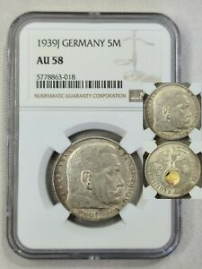Germany Third Reich 5 Reichsmark 1939 J HINDENBUR NGC AU58 Swastika Silver Coin