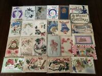 Lot of 25 Antique CHRISTMAS AIRBRUSHED~ Heavy Embossed Vintage~~Postcards-g244