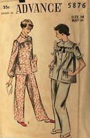 VTG1950s Sewing Pattern Advance #5876 Pajamas Size 16 Bust 34