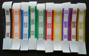 300 Mixed $25 to $10,000 Cash Money Self-Sealing Straps Currency Bands