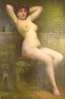 Rudolf Preuss, Austrian painter (b.1879, 1961). Oil on canvas. Seated young nude