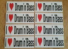 8x I Love Drum 'n' Bass Stickers - DnB Club & Rave Sticker Set