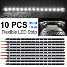 "10X Waterproof 12"" 15SMD Flexible LED Strip Light 12V For Car Truck Boat White"