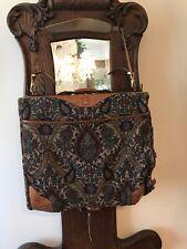 VTG Hartmann Floral Tapestry Shoulder Garment Suit  Bag Flames Leather Canvas