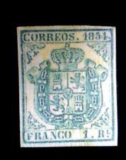 España 1854 Edf Nº 34 A Escudo de España Un Real Azul Claro,CV $11200 , Replica