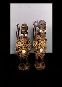 Old Tribal Bakongo Nail Fetish Pair Figure   ---  Congo