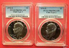 "1976 2 Coin ""S"" Eisenhower Clad Type 1 & 2 Proof Set PCGS69 @ < Wholesale"