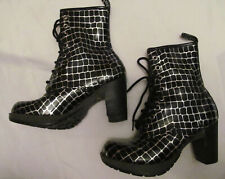 DR MARTENS DARCIE DIVA CROCO silver black  heeled lace up boots US 7