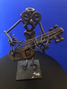 """John Duffy: 10"""" Nuts and Bolts Bassist Figure Sculpture- Signed 1970"""