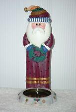 Hugs and Kisses Santa Pillar Candle Holder ~ NIB