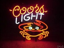 "Coors Light Crab Neon Lamp Sign 17""x14"" Bar Beer Display Glass Artwork"