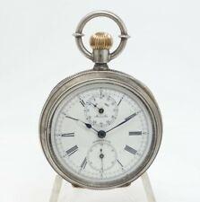Antique 1876 Centennial 900 Silver Horse Racing Chronograph Pocket Watch