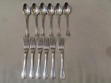 6 fourchettes + 6 cuilleres metal argenté poinconné christofle monogramme VB