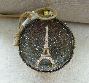 Pottery Barn Paris Silver Orb Glass Christmas Ornament - Eiffel Tower - NWT