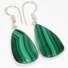 "Earrings 1.7"" Birthday Gift Gw Malachite 925 Sterling Silver Plated Handmade"