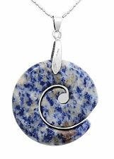 Natural Blue Sodalite Maori Koru Spiral Infinity Pendant Jewelry