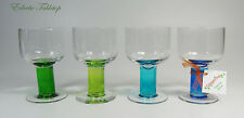Set of Four Wine Glasses with Colored Stems