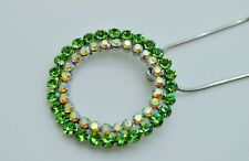 GORGEOUS  DOUBLE CIRCLE SHAPE GREEN COLOR PENDANT JEWELRY CHAIN NECKLACE W3