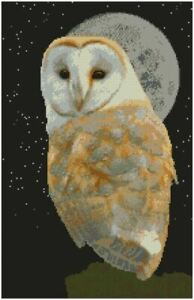 """Barn Owl Night Sky Counted Cross Stitch Kit 15.5"""" x 10"""" 14 Count"""