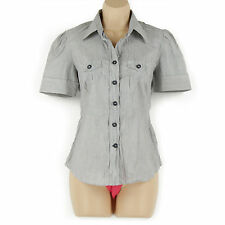Collared Semi Fitted No Striped Tops & Shirts for Women