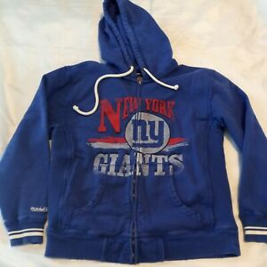 New York Giants Mitchell & Ness Full Zip Hoodie Jacket Men Size Large Distressed