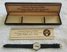 Mickey Mouse Disney Watch w/Case 50th Anniversary by Elgin Bradley Pre-Owned