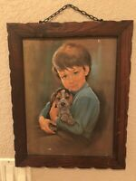 Vintage Mid Century Framed Picture Of Boy Holding Puppy