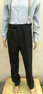 Vintage 1920's Edwardian Bespoke Tailored Grey Stripe Morning Trousers W40 L31