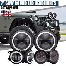 "7"" 60W LED Headlight Halo Fog Light Turn Lamps For 2015 Jeep JKU Wrangler Sahara"