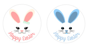 Happy Easter Bunny & Chick face 24 x 40 mm round stickers labels
