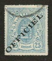Luxembourg stamp #o7, used, Official, BOB, 1875, rouletted, SCV $1400
