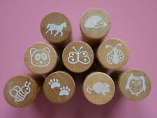 *Woodies*Wooden Animal Stamps x 5
