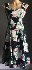 NWOT Retro Vibe Multi Colour Floral Print TULIPS Empire Waist Dress Size 14