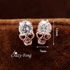 Trendy Women's 18k Yellow Gold Filled Cubic Zirconium Skull stud earrings