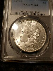 1879-s Pcgs Ms64 Graded Morgan Silver Dollar Blast White Beautiful Example