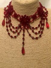 Womens Statement Chunky Big Large Red Crystal Beaded Choker Necklace Vintage