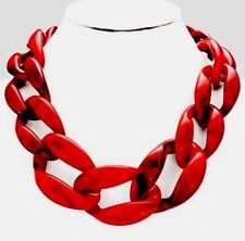 Acrylic Red Black Big Curb Link Chain Chunky Statement Necklace Set Earring