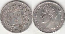Monnaie 2 Francs argent Charles X 1830 W