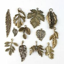 24pcs Assorted Mix Tree Leaf  Shape Theme Vintage Bronze Alloy Pendants Charms D