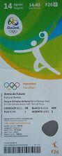 Billet olympique de 14/8/2016 rio handball femme argentine vs corée du sud # F26