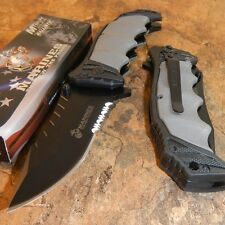 USMC OFFICIALLY LICENSED US MARINES GREY ASSISTED OPENING TACTICAL KNIFE NEW