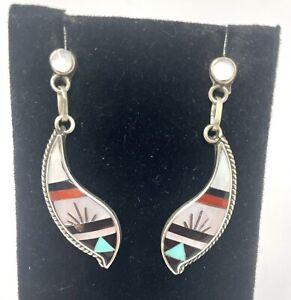 VTG Native American Sterling Multi Stone Inlay Dangle Post Earrings (8.5G)